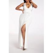 Lovely Casual Halter Backless White Maxi Dress