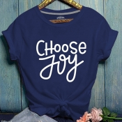 Lovely Casual Letter Print Navy Blue T-shirt