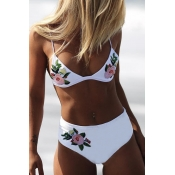 Lovely Embroidered Design White Bathing Suit Two-p