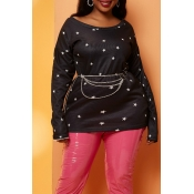 Lovely Casual Star Print  Black Plus Size Blouse