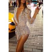 Lovely Party Deep V Neck Silver Mini Evening Dress