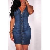Lovely Casual Button Blue Denim Mini Dress