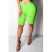 Lovely Chic Hollow-out Green Shorts
