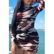 Lovely Casual Camo Print Wine Red Mini Dress
