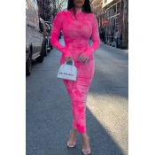 Lovely Trendy Print Pink Ankle Length Dress
