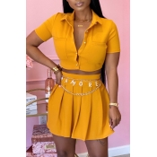 Lovely Casual Buttons Design Yellow Two-piece Skirt Set