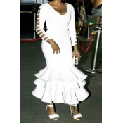 Lovely Trendy Hollow-out White Ankle Length Dress