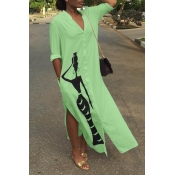 Lovely Casual Print Green Ankle Length Dress