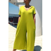 Lovely Leisure Basic Loose Green One-piece Jumpsui