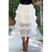 Lovely Sweet See-through White Skirt