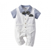 Lovely Trendy Buttons Design Blue Boy Two-piece Sh