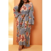 Lovely Leisure Print Grey Ankle Length Plus Size D