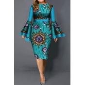 Lovely Trendy Print Flounce Design Baby Blue Knee