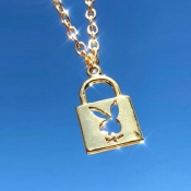 Lovely Trendy lock Gold Necklace