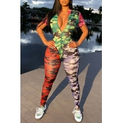 Lovely Casual Camo Print Patchwork One-piece Jumps