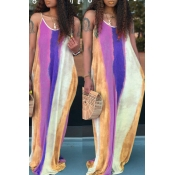 Lovely Trendy Print Purple Maxi Dress