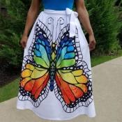 Lovely Stylish Butterfly Print White Skirt