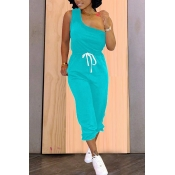 Lovely Casual One Shoulder Lace-up Skyblue Two-piece Pants Set