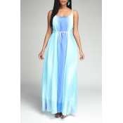 Lovely Bohemian Print Babye Blue Maxi Dress