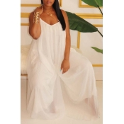 Lovely Leisure Loose White One-piece Jumpsuit