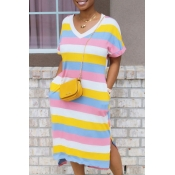 Lovely Leisure V Neck Striped Pink Mid Calf T-shir