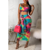 Lovely Casual Tie-dye Multicolor Two-piece Skirt S