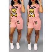 Lovely Casual Cartoon Print Pink Two-piece Shorts