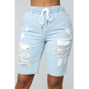 Lovely Casual Broken Holes Baby Blue Shorts