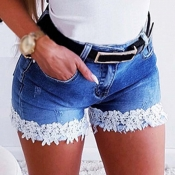 Lovely Casual Lace Hem Blue Shorts