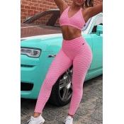 Lovely Sportswear Basic Pink Two-piece Pants Set