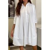 Lovely Sweet Buttons Design White Knee Length Dres