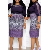 Lovely Stylish Patchwork Purple Knee Length Plus S