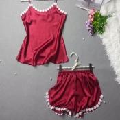 Lovely Sweet Lace Hem Wine Red Sleepwear