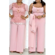 Lovely Stylish Patchwork Pink Plus Size Two-piece