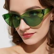 Lovely Chic Cat s Eye Frame Green Sunglasses