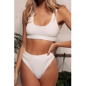 Lovely Basic Skinny White Two-piece Swimsuit