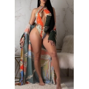 Lovely Cut-Out Multicolor One-piece Swimsuit(With