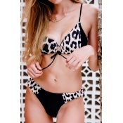 Lovely Patchwork Black Two-piece Swimsuit
