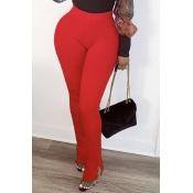 Lovely Leisure Basic Skinny Red Pants
