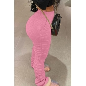 Lovely Casual Basic Skinny Pink Pants