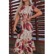Lovely Trendy O Neck Print Red Mid Calf Dress