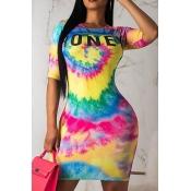 Lovely Casual Tie-dye Multicolor Mini T-shirt Dres