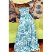 Lovely Bohemian Print Blue Maxi Dress