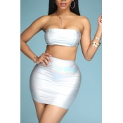 Lovely Sexy Dew Shoulder Silver Two-piece Skirt Se