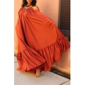 Lovely Casual Loose Jacinth Maxi Dress