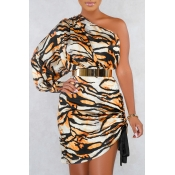 Lovely Stylish One Shoulder Tiger Stripes Mini Dre