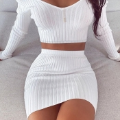 Lovely Trendy Striped White Two-piece Skirt Set