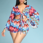 Lovely Bohemian Print Muticolor Two-piece Shorts S