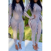 Lovely Casual Striped White One-piece Jumpsuit