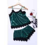 Lovely Stylish Lace Hem Green Sleepwear